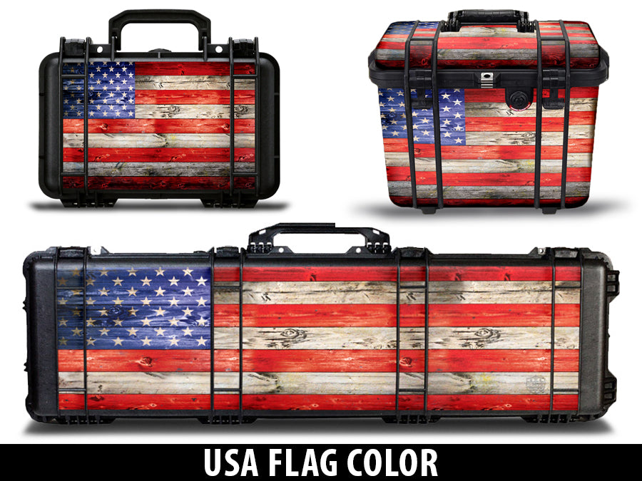 SATuff Pelican Gun Case Graphic Wrap Kit - USA Flag Wood