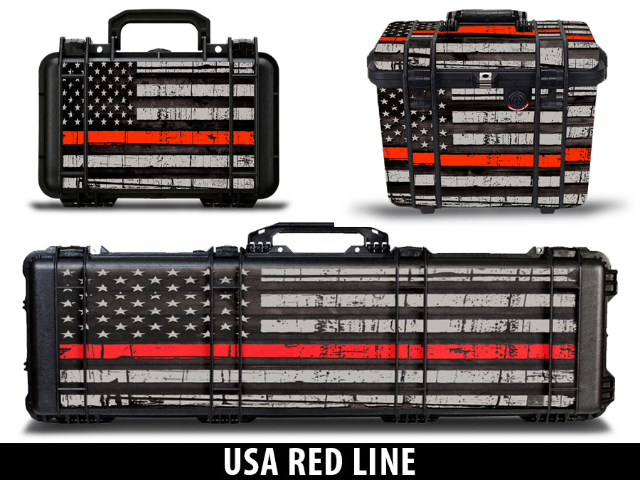 USATuff Pelican Gun Case Graphic Wrap Kit - USA Red Line