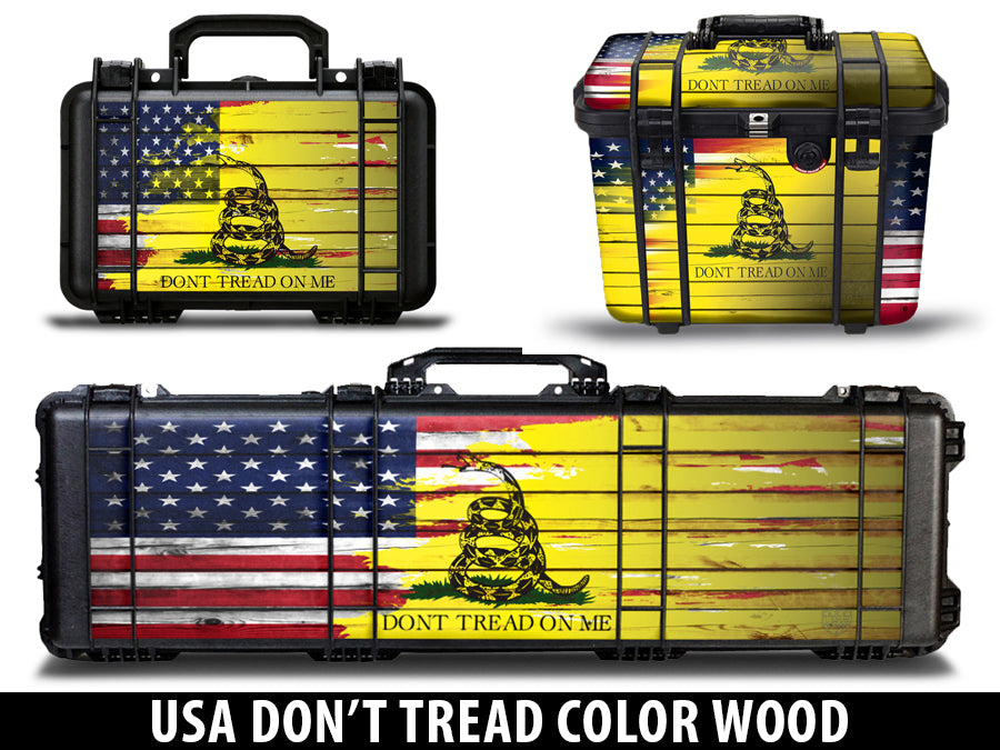 USATuff Gun Case Wrap Kit for PELICAN  - Don't Tread On Me Wood