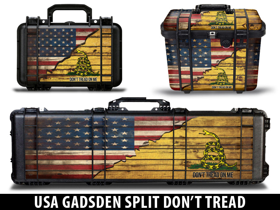 USATuff Gun Case Wrap Kit for PELICAN  - USA Gadsden Split Don't Tread