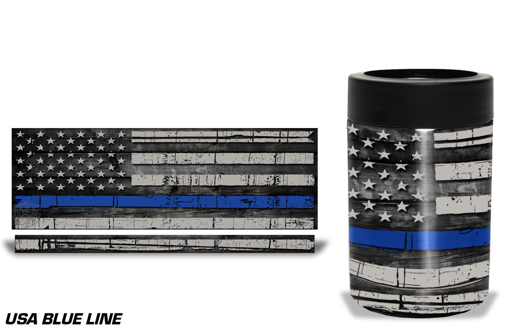 USATuff Tumbler Cup Wrap Kit for RTIC YETI - Blue Line Flag