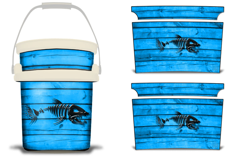USATuff YETI Bucket Accessories Ice Bucket Graphic Sticker Decal Kits Bonefish Blue
