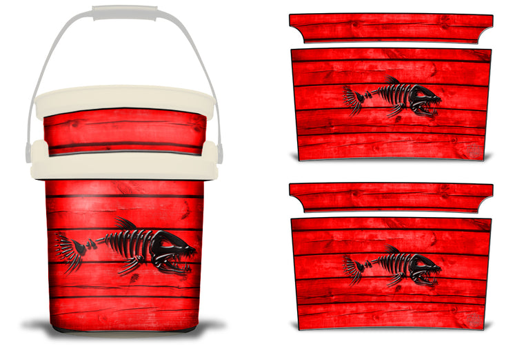 USATuff YETI Bucket Accessories Ice Bucket Graphic Sticker Decal Kits Bonefish Red
