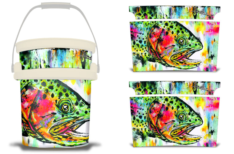 USATuff YETI Bucket Accessories Ice Bucket Graphic Sticker Decal Kits - Rainbow