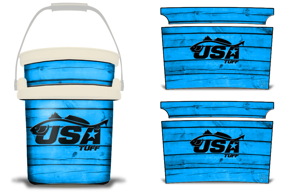 USATuff YETI Bucket Accessories Ice Bucket Graphic Sticker Decal Kits Redfish Blue
