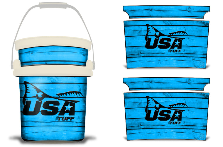 USATuff YETI Bucket Accessories Ice Bucket Graphic Sticker Decal Kits Redfish Tail Blue