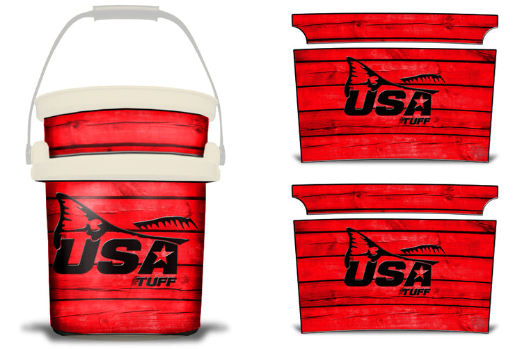 USATuff YETI Bucket Accessories Ice Bucket Graphic Sticker Decal Kits Redfish Tail Red