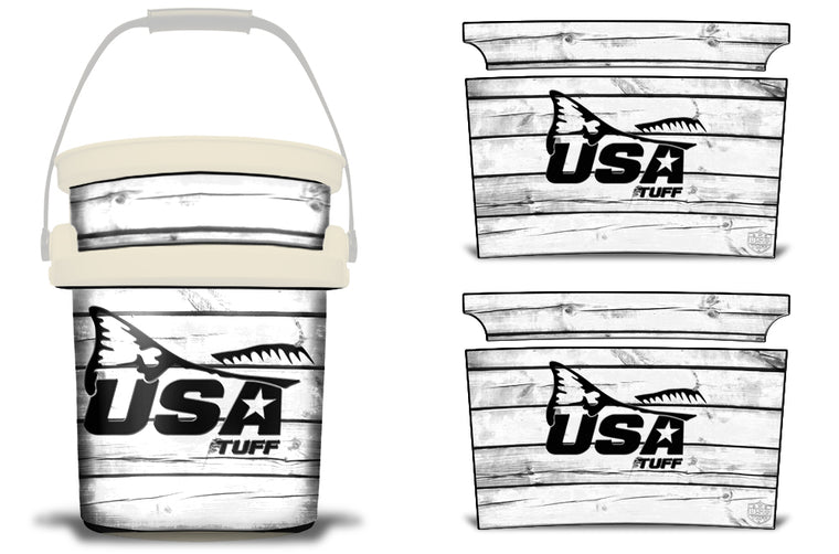 USATuff YETI Bucket Accessories Ice Bucket Graphic Sticker Decal Kits Redfish Tail White