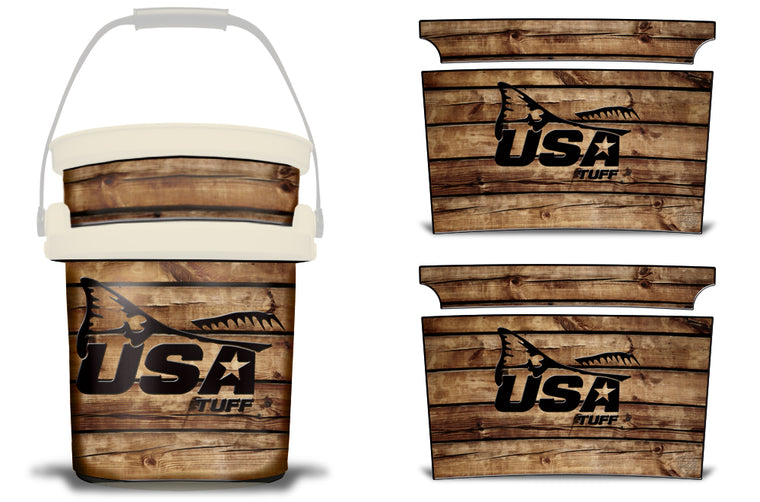 USATuff YETI Bucket Accessories Ice Bucket Graphic Sticker Decal Kits Redfish Tail Wood