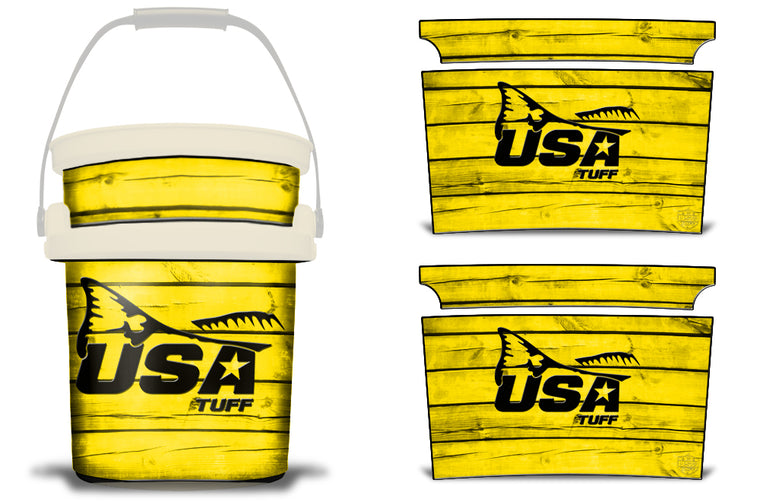 USATuff YETI Bucket Accessories Ice Bucket Graphic Sticker Decal Kits Redfish Tail Yellow