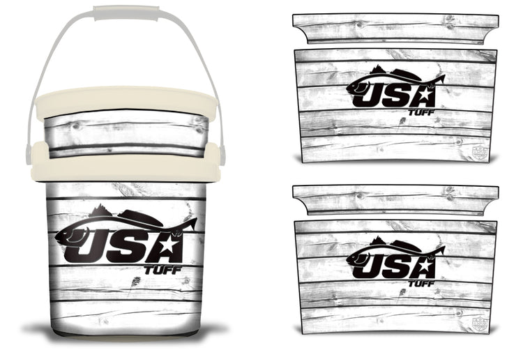 USATuff YETI Bucket Accessories Ice Bucket Graphic Sticker Decal Kits Redfish White