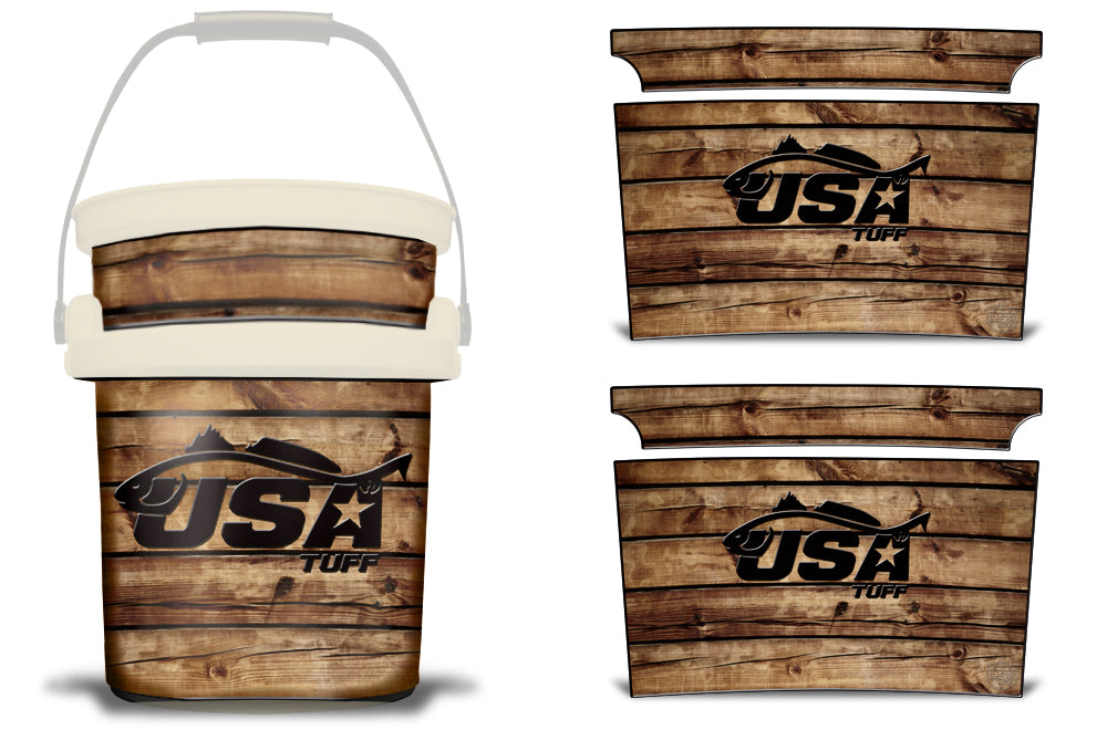 USATuff YETI Bucket Accessories Ice Bucket Graphic Sticker Decal Kits Redfish Wood