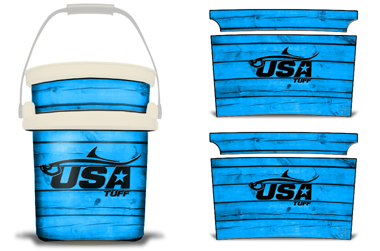 USATuff YETI Bucket Accessories Ice Bucket Graphic Sticker Decal Kits Tarpon Blue