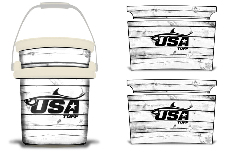 USATuff YETI Bucket Accessories Ice Bucket Graphic Sticker Decal Kits Tarpon White