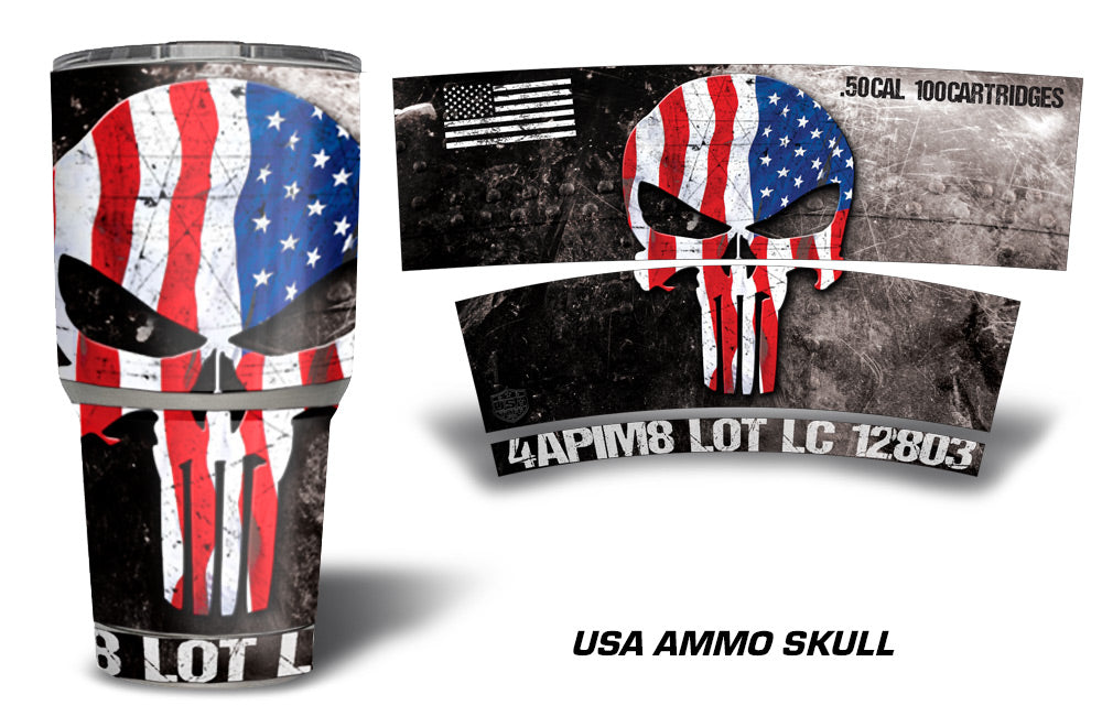 USATuff Tumbler Cup Wrap Kit for RTIC YETI - USA Ammo Skull