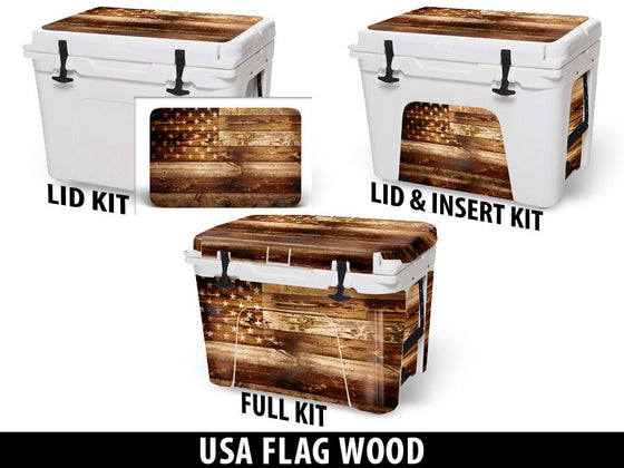 USATuff Cooler Accessories Ice Chest Graphic Sticker Decal Kits - USA Flag Wood
