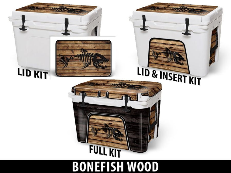 USATuff Cooler Accessories Ice Chest Graphic Sticker Decal Kits - Bonefish Wood