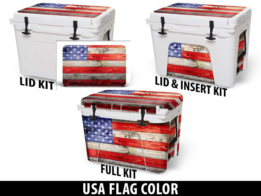 USATuff Cooler Accessories Ice Chest Graphic Sticker Decal Kits - USA Flag Color