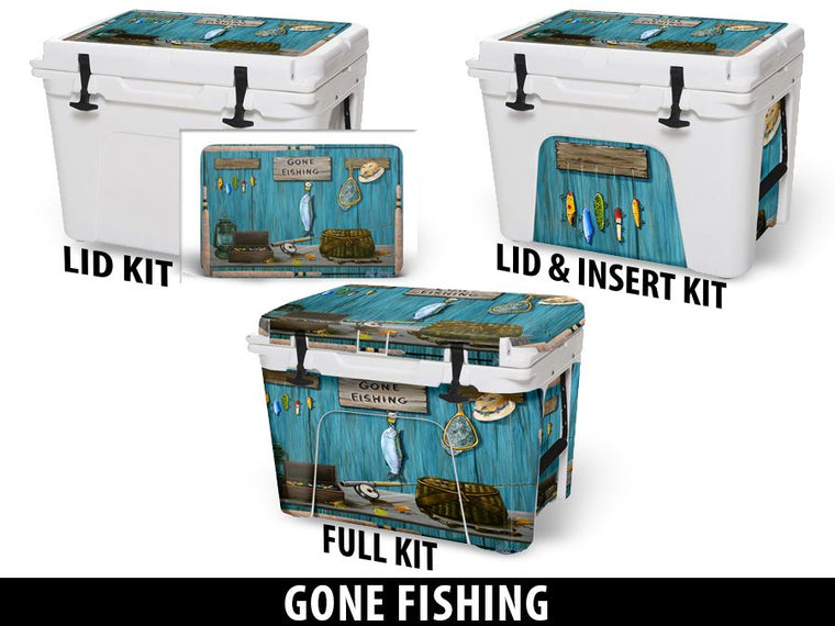 USATuff Cooler Accessories Ice Chest Graphic Sticker Decal Kits - Gone Fishing by Jeff Wilkie