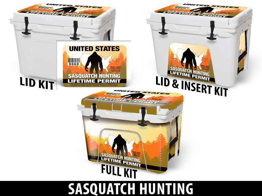 USATuff Cooler Accessories Ice Chest Graphic Sticker Decal Kits - Sasquatch Hunting