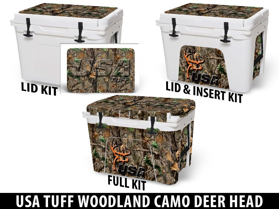 USATuff Cooler Accessories Ice Chest Graphic Sticker Decal Kits - USA TUFF WOODLAND CAMO DEER HEAD