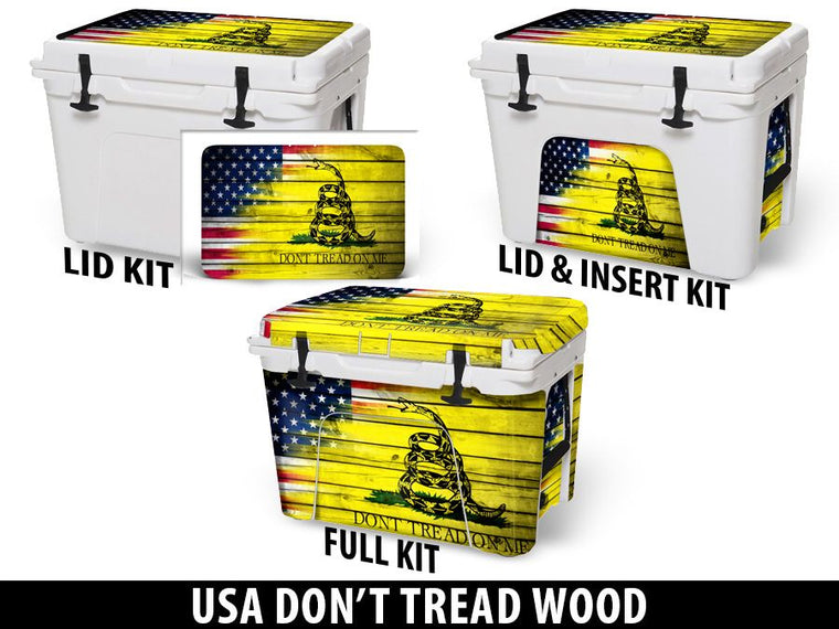 USATuff Cooler Accessories Ice Chest Graphic Sticker Decal Kits - USA Don't Tread Wood