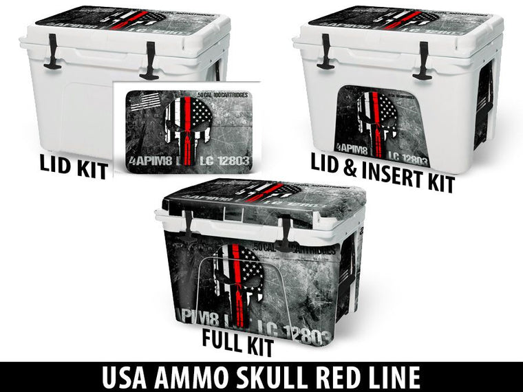 USATuff Cooler Accessories Ice Chest Graphic Sticker Decal Kits - USA Ammo Skull Red Line
