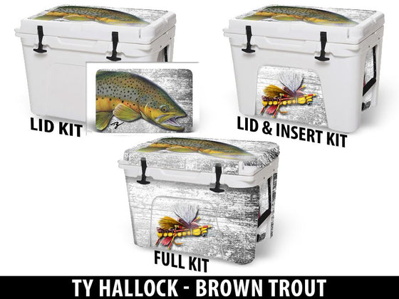 USATuff Cooler Accessories Ice Chest Graphic Sticker Decal Kits - Brown Trout by Ty Hallock