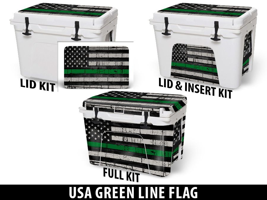 USATuff Cooler Accessories Ice Chest Graphic Sticker Decal Kits - USA Green Line Flag