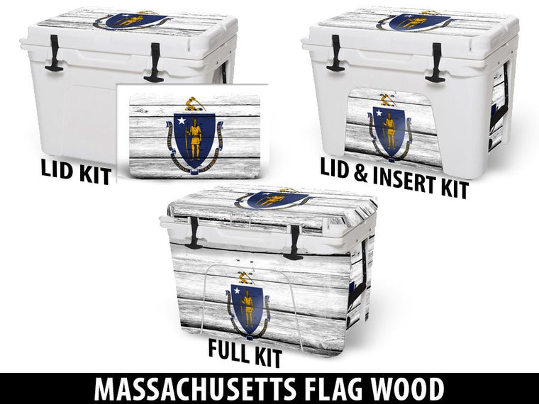USATuff Cooler Accessories Ice Chest Graphic Sticker Decal Kits - Massachusetts