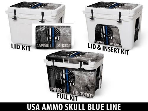 USATuff Cooler Accessories Ice Chest Graphic Sticker Decal Kits - USA Ammo Skull Blue Line