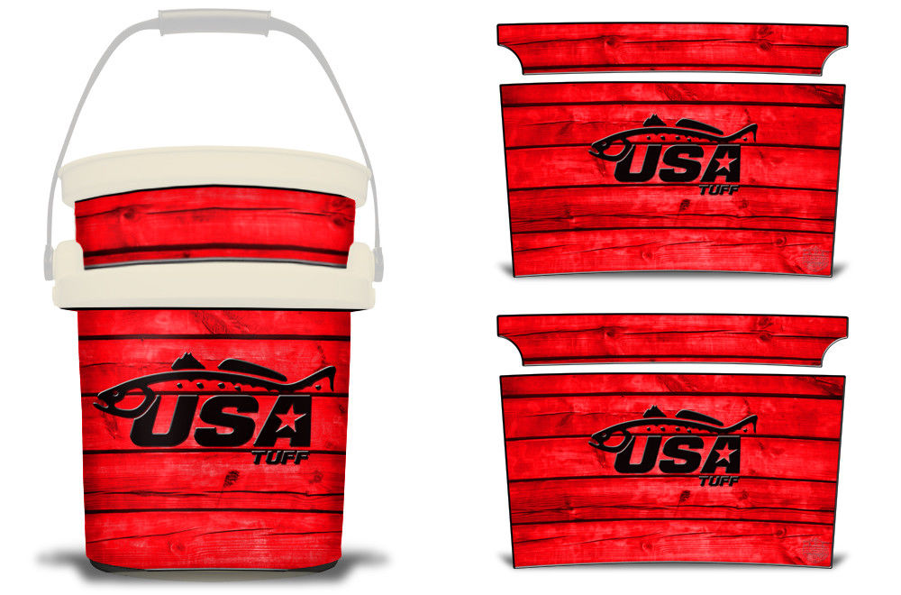 USATuff YETI Bucket Accessories Ice Bucket Graphic Sticker Decal Kits Trout Red
