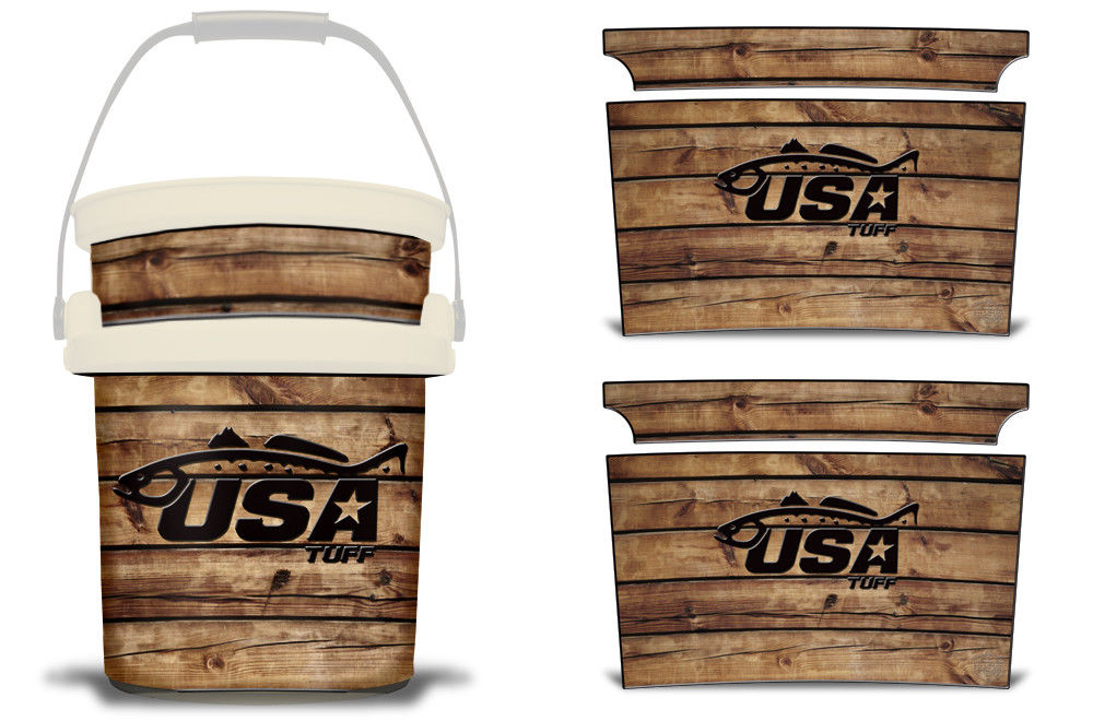 USATuff YETI Bucket Accessories Ice Bucket Graphic Sticker Decal Kits Trout Wood