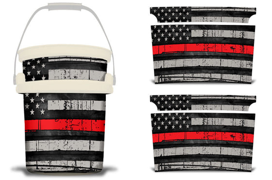 USATuff YETI Bucket Accessories Ice Bucket Graphic Sticker Decal Kits USA Red Line Flag