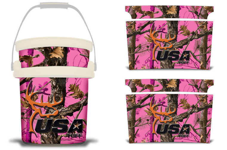 USATuff YETI Bucket Accessories Ice Bucket Graphic Sticker Decal Kits USATuff Pink Camo Deerhead