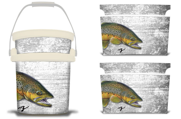 USATuff YETI Bucket Accessories Ice Bucket Graphic Sticker Decal Kits Ty Hallock Brown Trout
