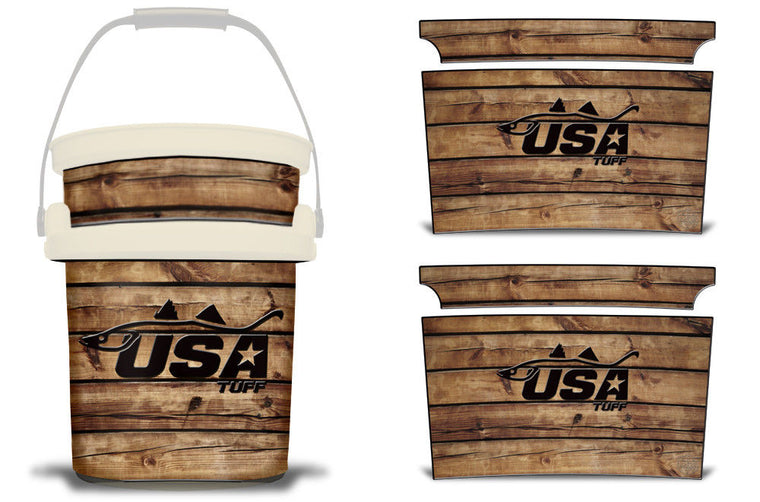 USATuff YETI Bucket Accessories Ice Bucket Graphic Sticker Decal Kits Snook Wood