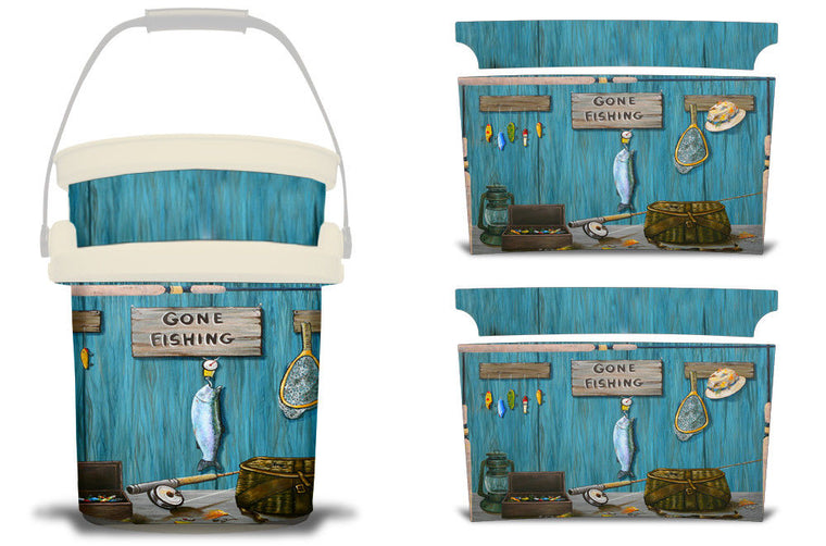 USATuff YETI Bucket Accessories Ice Bucket Graphic Sticker Decal Kits Gone Fishing by Jeff Wilkie