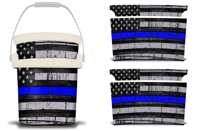 USATuff YETI Bucket Accessories Ice Bucket Graphic Sticker Decal Kits USA Blue Line Flag