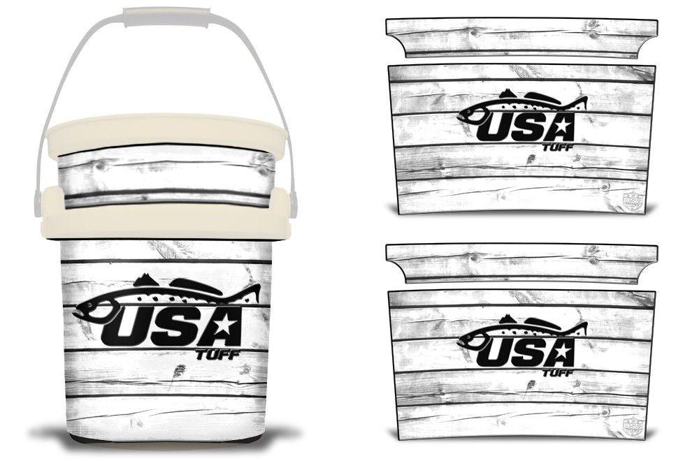 USATuff YETI Bucket Accessories Ice Bucket Graphic Sticker Decal Kits Trout White