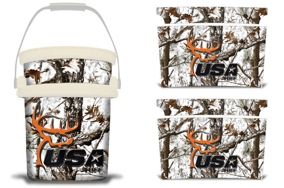 USATuff YETI Bucket Accessories Ice Bucket Graphic Sticker Decal Kits USATuff Tundra Camo Deerhead