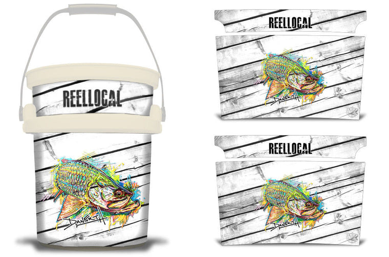 USATuff YETI Bucket Accessories Ice Bucket Graphic Sticker Decal Kits Tarpon Neon Blast by David Danforth