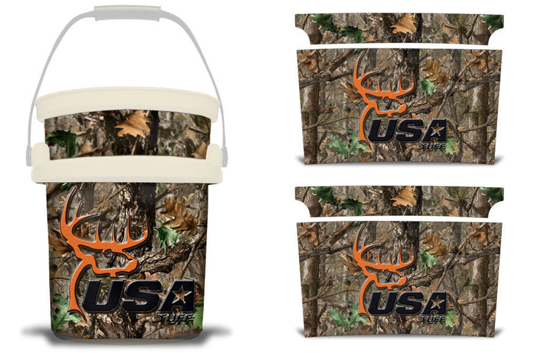 USATuff YETI Bucket Accessories Ice Bucket Graphic Sticker Decal Kits USATuff Woodland Camo Deerhead