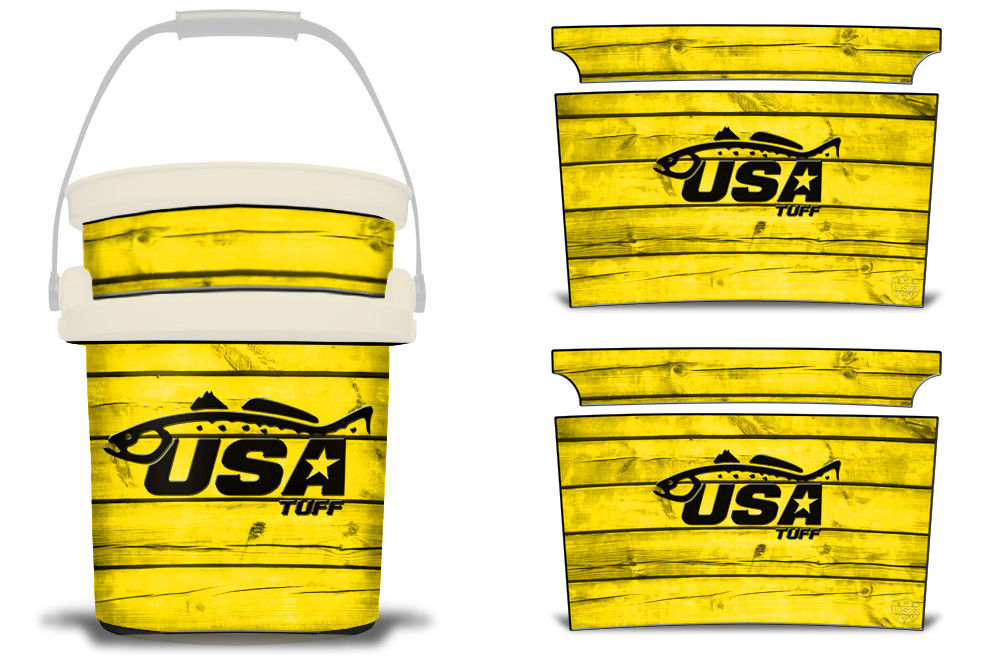 USATuff YETI Bucket Accessories Ice Bucket Graphic Sticker Decal Kits Trout Yellow