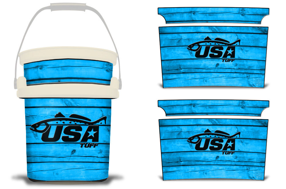 USATuff YETI Bucket Accessories Ice Bucket Graphic Sticker Decal Kits Trout Blue