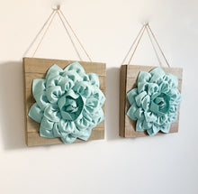 Load image into Gallery viewer, TWO Dusty Bl;ue Dahlia flowers on Reclaimed Wood plank canvases for  wall art decor