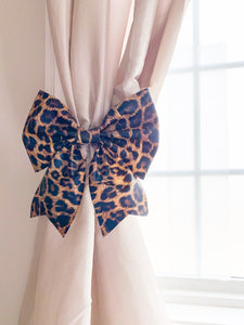 Leopard  Print Bow Curtain Tie  for decorating  and tying back your curtains
