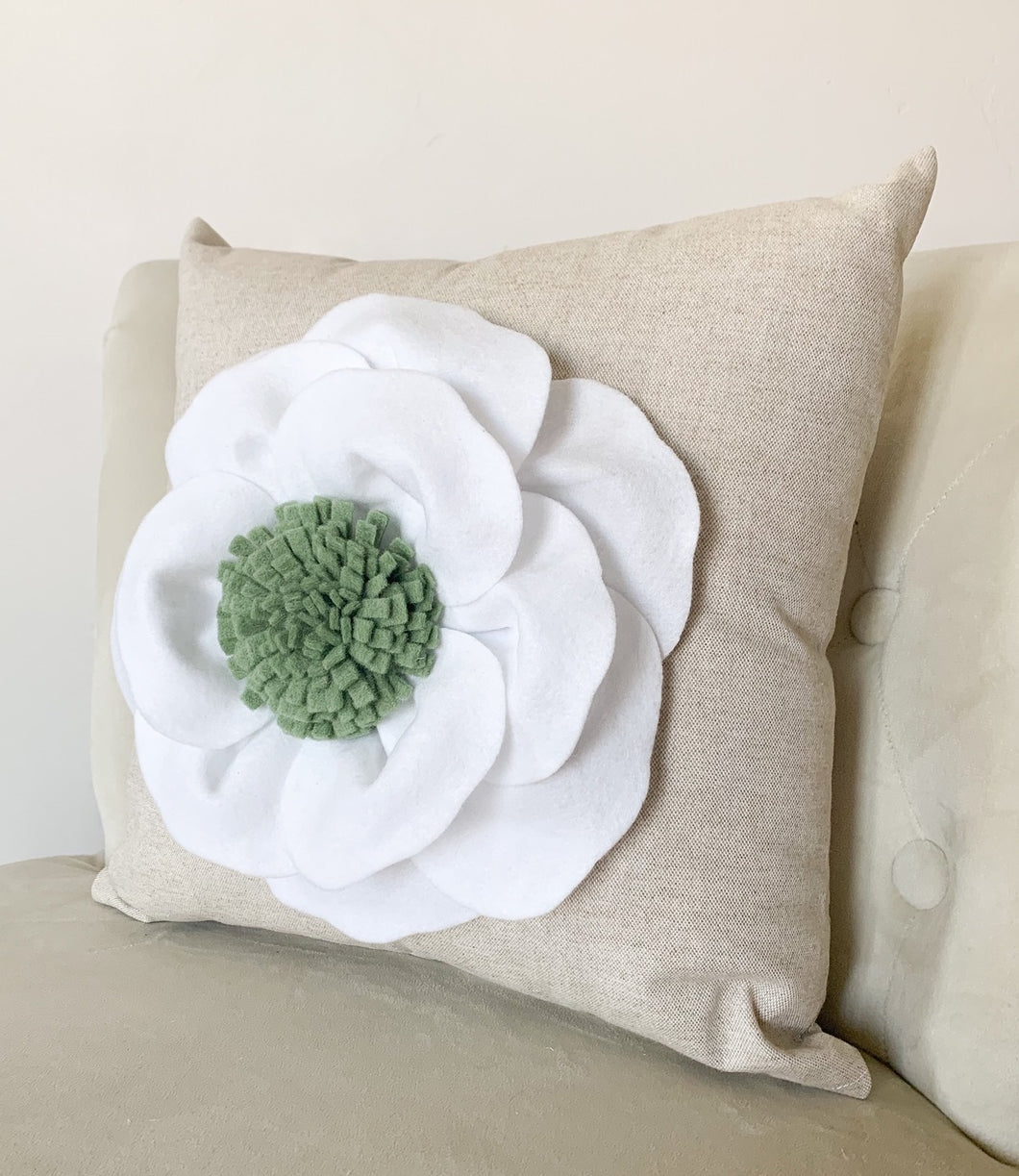 White Poppy Flower with Green Center on Oatmeal colored  Decorative Pillow