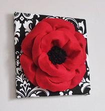 Load image into Gallery viewer, Poppy Flower on Damask Canvas - Daisy Manor
