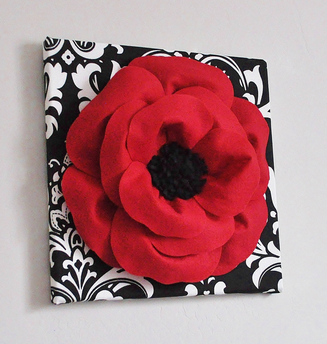 Poppy Flower on Damask Canvas - Daisy Manor